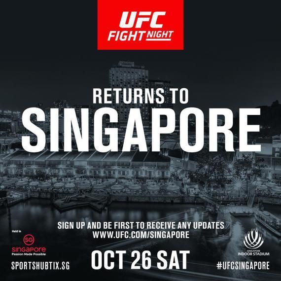UFC格斗之夜重返新加坡 10月26日连续第3年到访狮城