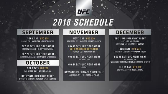 2018年下半年UFC全部的赛程安排