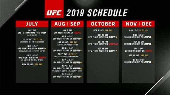UFC官方公布了下半年的完整赛程