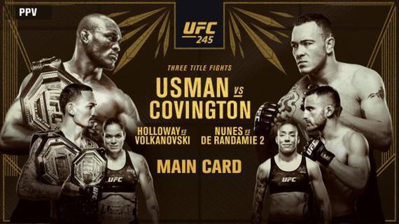 UFC245前瞻:乌斯曼VS卡温顿次中对决领衔三大冠军战