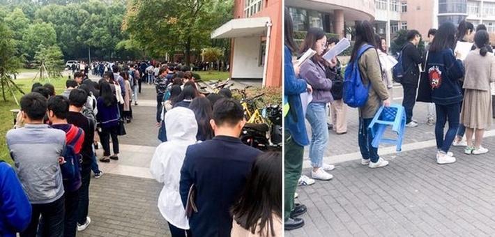 杭州考研报名确认现场排队像春运