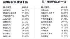 今年前8月偏股基金涨4.75% 任泽松冠绝同行(表)