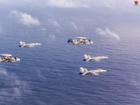 美航母战机群升空秀战力