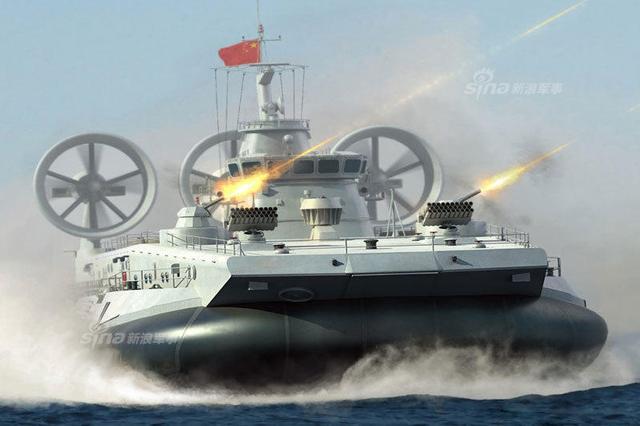 解放军出动野牛气垫船练登陆