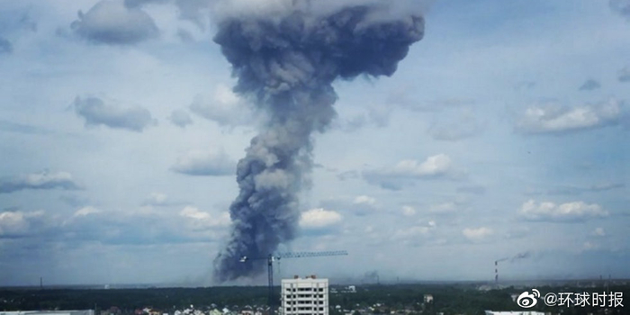 俄一家炸药生产基地发生爆炸 产生巨大蘑菇云(图)