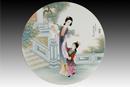 圓形瓷板《十二金釵-李紈》