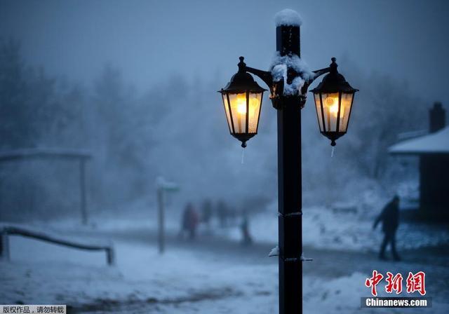 当地时间11月13日,德国各地迎来降雪,银装素裹美如画卷。图为德国法兰克福附近的灯下雪景。
