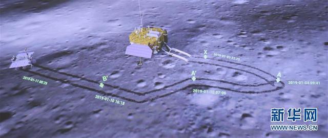 """1月11日,在北京航天飞行控制中心大屏幕上拍摄的着陆器(右)和巡视器互拍画面。 1月11日下午,嫦娥四号着陆器与玉兔二号巡视器工作正常,在""""鹊桥""""中继星支持下顺利完成互拍,地面接收图像清晰完好,中外科学载荷工作正常,探测数据有效下传,搭载科学实验项目顺利开展,达到工程既定目标,标志着嫦娥四号任务圆满成功。至此,中国探月工程取得""""五战五捷""""。 新华社记者 金立旺 摄"""