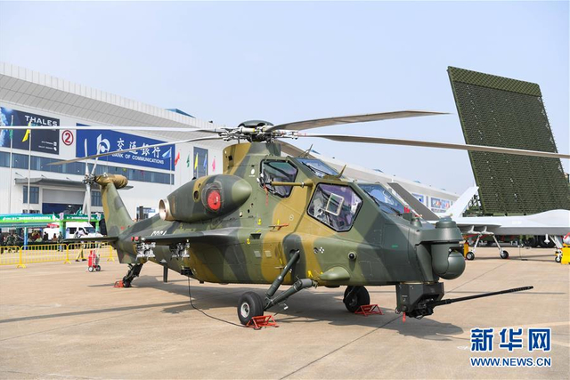 这是航展上的直-10K(11月8日摄)。  在11月6日开幕的第十二届中国国际航空航天博览会上,中国空军新型战机和一批现役主战装备全新亮相,集中展示空军在改革开放40年来的新成就。  新华社记者 邓华 摄