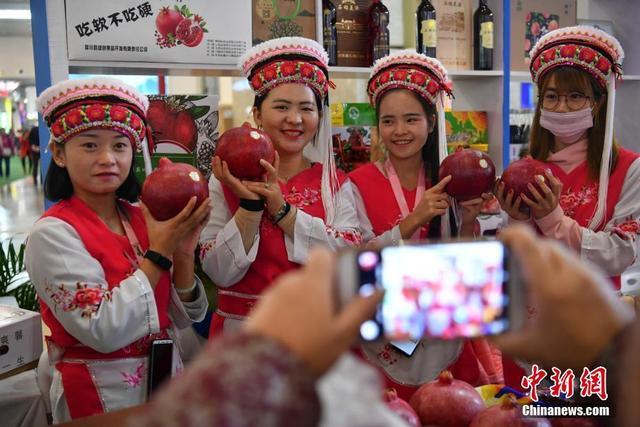10月12日,销售人员向民众展示巨型石榴。当日,第14届中国昆明国际农业博览会在昆明持续展销,吸引民众前来参观选购。云南大理出产的石榴重约2公斤。中新社记者  任东 摄