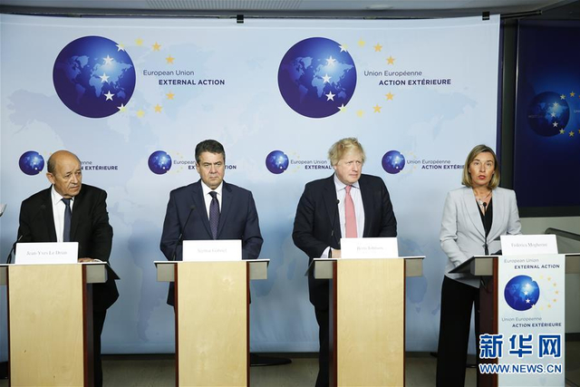 1月11日,在比利时布鲁塞尔,法国外长勒德里安、德国外长加布里尔、英国外交大臣约翰逊和欧盟外交和安全政策高级代表莫盖里尼(从左至右)出席新闻发布会。欧盟外交和安全政策高级代表莫盖里尼和法、德、英三国外长11日在布鲁塞尔重申,欧盟及其成员国坚决维护和履行伊朗核问题全面协议。新华社记者 叶平凡 摄