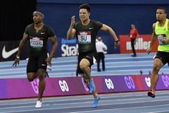 6.47 seconds! Su won the men's 60 meters title