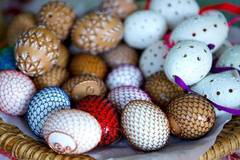 People paint eggs to celebrate Easter in Prague