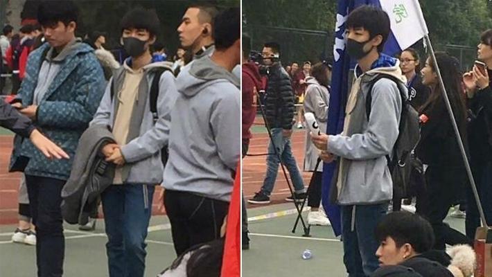 王俊凯参加北电运动会乖巧十足