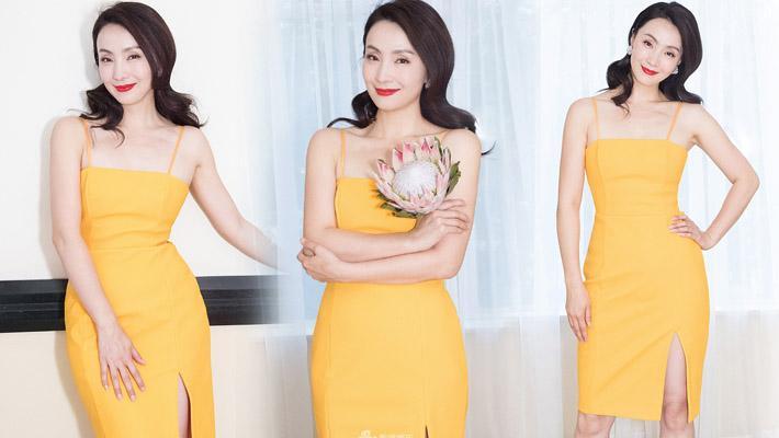 陶虹吊带黄裙优雅雪肤迷人
