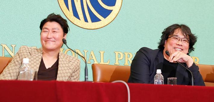 奉俊昊和宋康昊亮相日本有爱互动