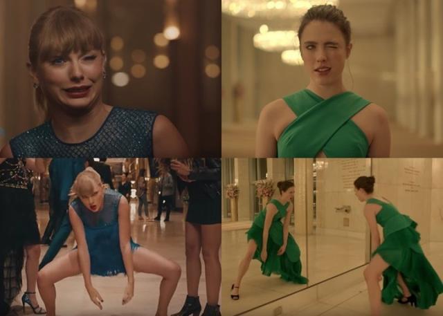 新浪娱乐讯 霉霉Taylor Swift近日推出新歌《Delicate》MV,MV首播后却遭遇抄袭质疑。经网友对比,两者确有不少相似之处。例如淑女打扮出席晚会的霉霉在大堂周围跳舞,当中扮生气大猩猩的舞姿、跳起凌空做一字马的芭蕾舞动作等idea几乎一致。