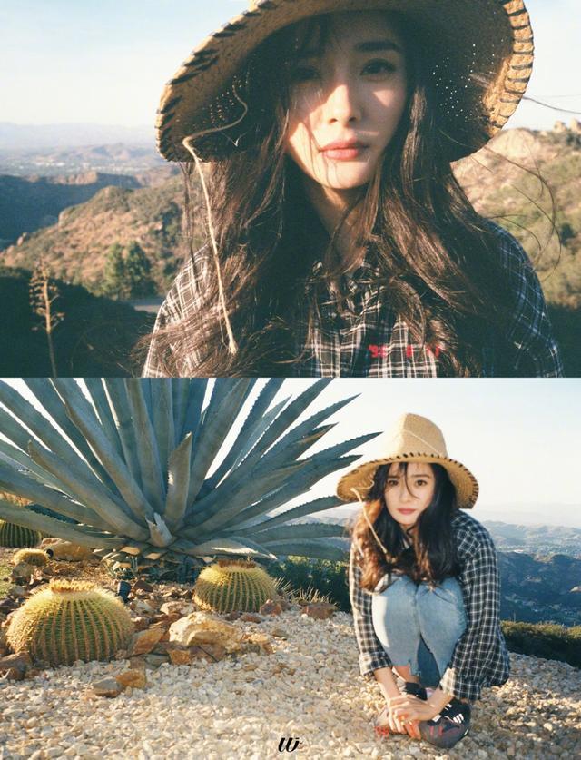 新浪娱乐讯 近日,杨幂工作室在微博晒出一组美照。照片中,杨幂穿格子衬衣搭配淡蓝色牛仔裤,头戴草帽,简单实用的搭配却又十分亮眼。慵懒的日光下,杨幂对镜甜笑,也是十足的日系美少女了。