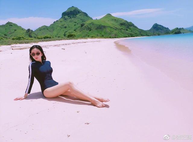 新浪娱乐讯 11日,娄艺潇晒出自己在Komodo的粉红色沙滩上拍摄的美照,她穿着紧身游泳衣,大秀好身材,凹凸有致,一双大白腿十分吸睛。