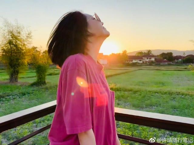 """新浪娱乐讯 11日上午,许晴在微博晒出一组美照,她漫步在夕阳照耀下的田地里,和大象的模型亲密互动合影,一身玫红色休闲装玩下衣失踪,大秀美腿,撅着屁股、张开双手与""""大象""""合影活力十足。"""