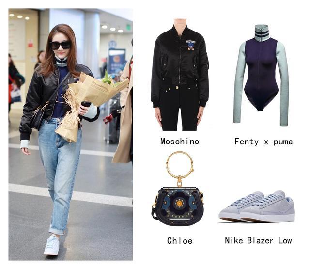 张雪迎x 机场街拍 ┊ 身穿Moschino夹克,内搭 Fenty x puma 高领衫 ,Chloe单肩包和Nike鞋,温暖与精致完美交融,保暖又有范儿。