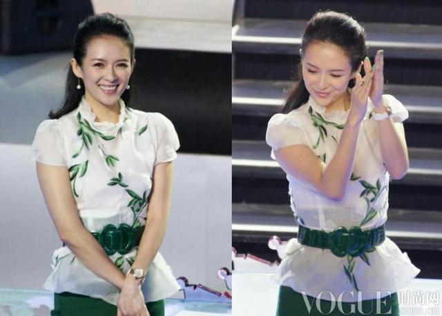 2013年,章子怡一身绿色刺绣装亮相《中国最强音》的录制现场。荷叶边领口、公主袖,树叶纹样的刺绣配绿色鳄鱼条纹腰带,仿佛将江南春色置于身上,再搭配两颗球形耳环,越显灵动,娇小可爱。