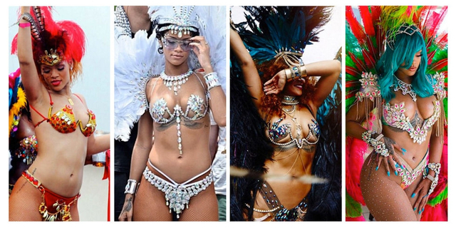Crop Over是巴巴多斯每年夏末举行的狂欢节庆祝活动,Rihanna分别在2011、2013、2015、及今年参与了家乡庆祝游行,每年的造型也极为惊艳养眼,虽然今年越加丰腴的Riri造型相比前3次有些逊色,但还是令人印象深刻,让我们一同回顾下Riri四次的狂欢造型。