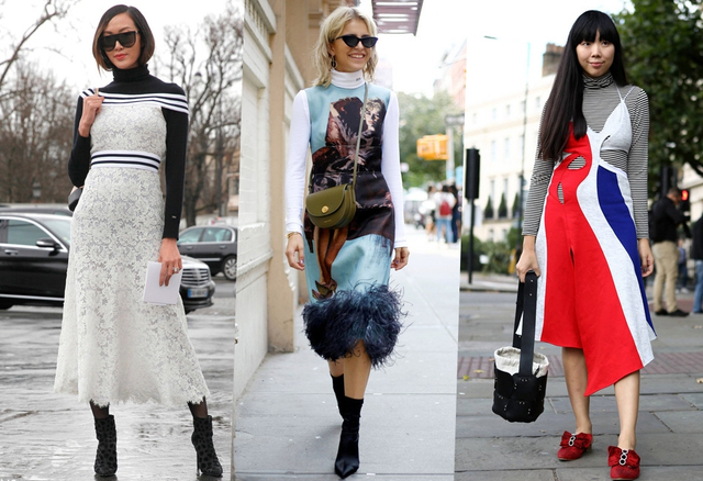 """在忽冷忽热的秋季,怎么穿的时髦又保暖,一直都是个难题。夏天刚过,那些凹造型的连衣裙们,你是不是还不甘心就这样收起来?但气温骤降之后,只穿连衣裙就真的有些""""美丽冻人""""。别纠结,叠穿啊!连衣裙与高领衫叠穿,不仅保暖,还能凸显气质让你时髦过秋。"""