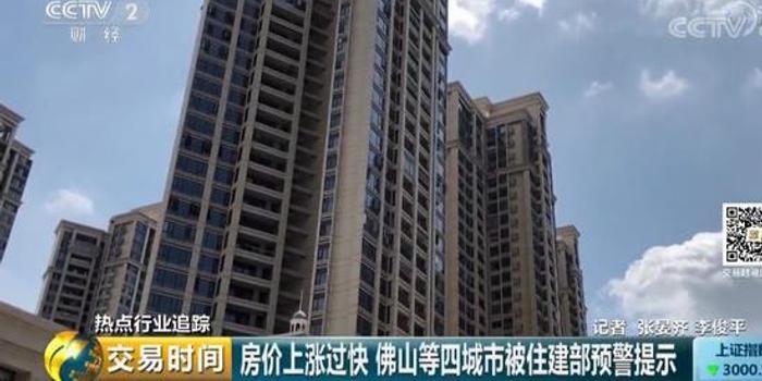 房價上漲過快 佛山等四城市被住建部預警提示