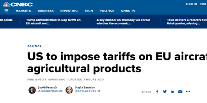 美對歐盟飛機和農產品征關稅:最高25% 本月18日生效