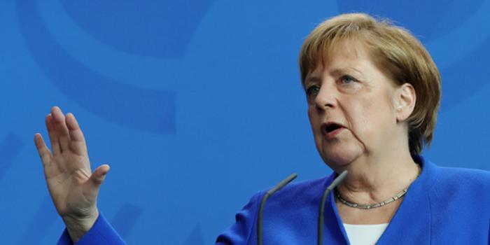 """德國總理默克爾猛烈抨擊貿易中的""""?;ぶ饕邇閬頡? class="""