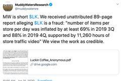 瑞幸咖啡遭渾水機構做空 股價暴跌逾20%
