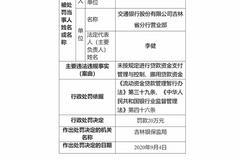 交行吉林省分行营业部被罚20万:挪用贷款资金