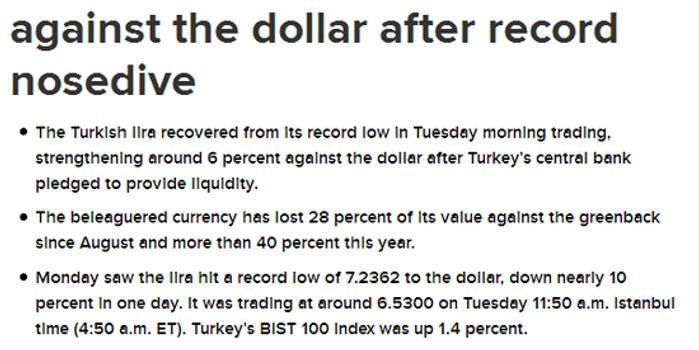 土耳其里拉兑美元汇率大幅反弹