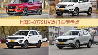 5-8万SUV车型上周热度排行揭晓,宝骏510领跑