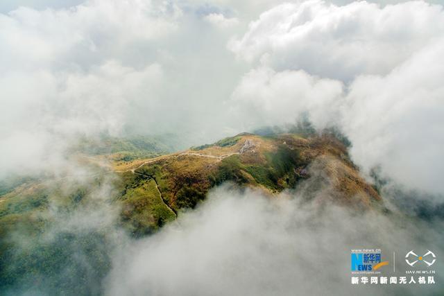 罗浮山,又名东樵山,位于广东惠州博罗县长宁镇境内。天气晴朗,登山爱好者经过五个小时的攀爬,来到海拔1296米的罗浮山主峰——飞云顶。新华网发(缪华 摄)