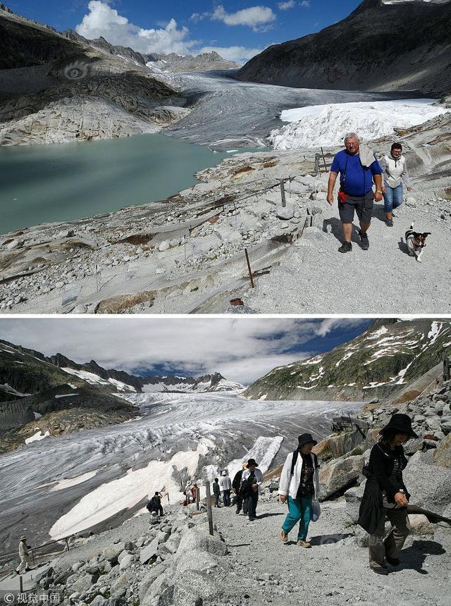 (拼接图)上图:当地时间2018年9月13日,瑞士富尔卡,游客游览隆河冰川。下图:当地时间2008年7月5日,瑞士富尔卡,游客游览隆河冰川。