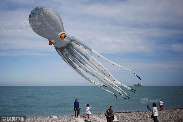 当地时间2018年9月9日,法国迪耶普,第20届迪耶普国际风筝节在当地举行,将持续到9月16日。