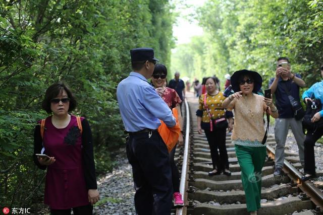 """2018年5月13日,南京铁路警方在网红""""爱情隧道""""发放安全传单。提醒来此游玩的市民注意安全,不要在铁路上行走,注意避让通行的列车。"""