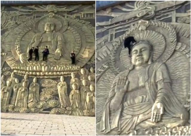 有民众近日到河南南阳浙川县的香严寺观光,发现有多名游客踩着石壁上的浮雕,爬上佛像的身体、头顶等位置拍摄大合照,举止不但缺德,而且容易发生意外。来源:百家号 懂放弃