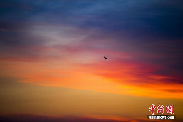 8月15日傍晚,江西鄱阳湖上空出现绚丽晚霞,美不胜收。傅建斌 摄