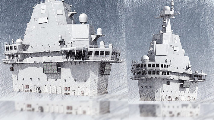 国产航母舰岛方案图出炉!雷达已隐身处理