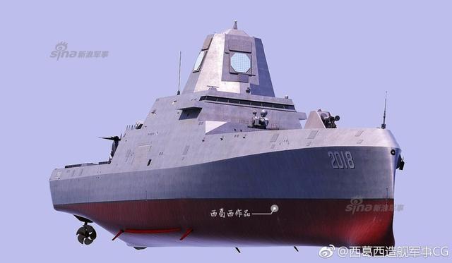 """近日,有微博网友制作了中国未来新型驱逐舰""""国家导弹防御舰""""的想象图,堪称中国版朱姆沃尔特级驱逐舰,从图上看,该舰拥有电磁炮、大口径垂直发射器,直升机平台可搭载鱼鹰旋翼机。(图片鸣谢微博网友@西葛西造舰军事CG)"""