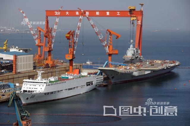 2018年4月14日,有网友拍摄了正在大连建造的中国首艘国产航母的最新进展,从画面看,岸吊频繁吊装,施工人员在甲板平台、舰岛、舰舷上作业,红旗10导弹系统换上绿色新装。(图片鸣谢:图虫创意)