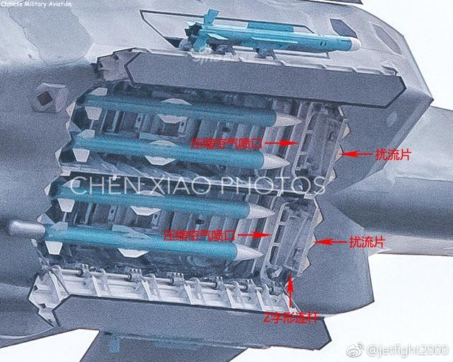 在本届珠海航展上,我歼20战机首次面向公众开启内置弹舱飞行,展示其内部携挂的PL-10/PL-15空空导弹。有网友近日对歼20与F22的内置弹舱细节进行了分析,根据现场高清照片显示,机腹弹舱前段扰流片下方左右似乎各安装了一排压缩空气喷口。压缩空气由进气道引入,通过喷口向下喷入弹舱前缘处的高速气流中,使其部分向下偏斜,从而降低弹舱内的噪音震动。这项设计为歼20首创,F22并无类似设计。(图片来源:jetfight2000 军网英文)