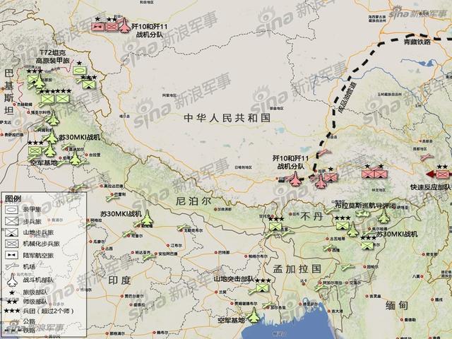 印军共有10个山地师、1个独立山地旅和3个后备山地旅。其中有8个山地师分布在中印边界,1个山地师(第8山地师)分布在巴基斯坦边界。