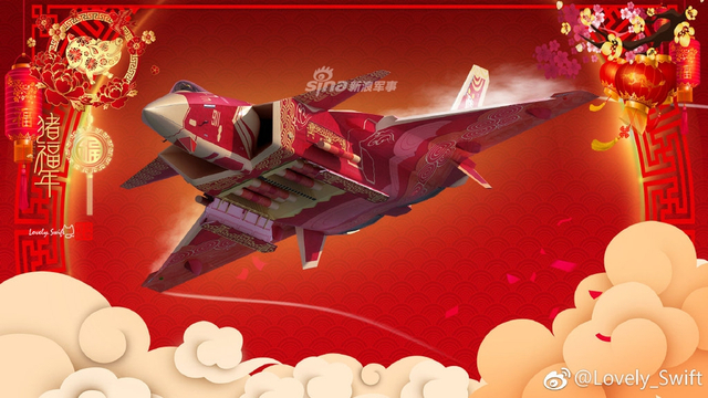 近日,有大神网友为我国产歼20战机绘制了吉祥如意新皮肤,春节的喜庆气息扑面而来,十分有趣!(来源:Lovely_Swift)