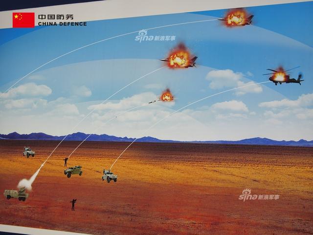 在本届的马来西亚国际防务展上,中国长征国际展出了一副趣味宣传画,画上展示了中国完善的防空系统。其中有LY-80、LY-80N、FB-10远程防空系统、FB-6C、FB-6A中程防空系统、FN-16与FN6单兵末端防空导弹等,将来犯之敌阿帕奇直升机与F-16一一歼灭。(新浪军事独家拍摄,全网首发)