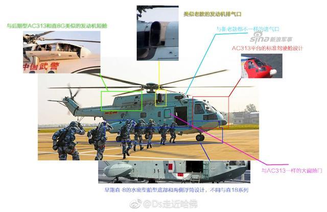 新款直8直升机可以说是几种不同平台直8各部件的堆积,比如机身是老款的水密船型底,机头和发动机舱设计则是新款AC313平台的。结合最近075消息不断,这款直8或将装备075两栖舰上的海军陆战队航空旅。(来源:Ds走近哈佛)