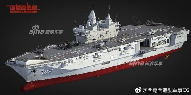 近日网友曝光一组我军未来两栖攻击舰的CG图。而此前军博新馆海军装备展厅也曾展示过一个075型两栖攻击舰模型。据报道称,075型两栖攻击舰舰长250米,宽30米,排水量为4万吨,将成为现有两栖攻击舰中最大的型号之一。(来源:西葛西造舰军事CG)
